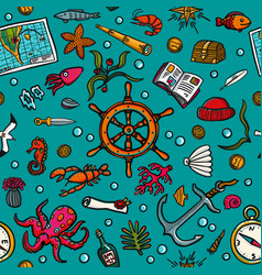 seamless hand-drawn pattern marine theme sea vector image vector image