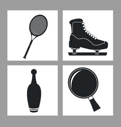 Set sport equipment icon black and white vector