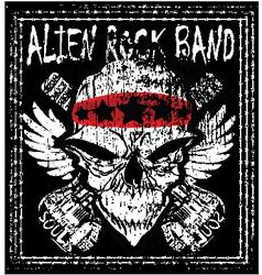 Skull rock n roll band music man t shirt de vector
