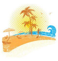 tropical beach with surfer seascape background vector image
