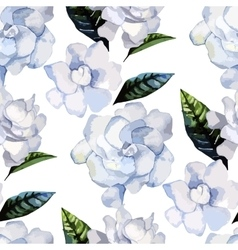 Watercolor gardenia pattern vector image vector image