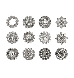 Round ornament pattern set vector
