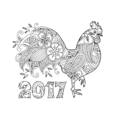 Stylish cock or rooster and number 2017 vector
