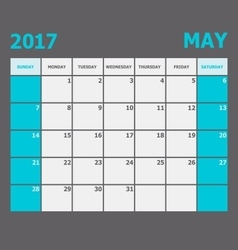 May 2017 calendar week starts on sunday vector