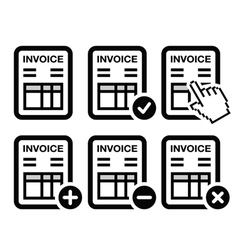 Invoice finance icons set vector