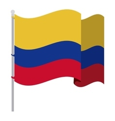 Colombian flag waving with pole vector