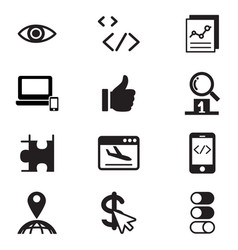 seo search engine optimization icon set vector image