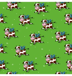 Flying cows pattern vector image