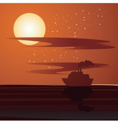 Sunset and ship vector