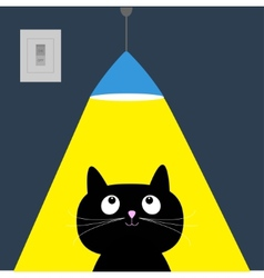 Black cat and ceiling light lamp yellow ray of vector