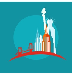 New york icon flat vector