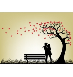 Dating couple silhouette under love tree vector