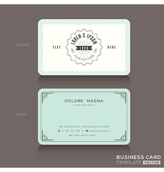 Retro hipster business card design template vector
