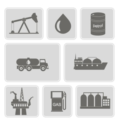 Icons with oil and petroleum theme vector