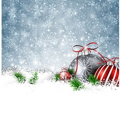 Silver winter background with christmas balls vector