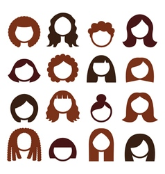 Brunette hair styles wigs icons set - women vector