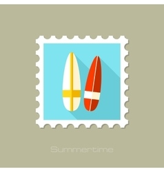 Surfboard flat stamp with long shadow vector