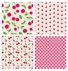 Set seamless cherry pattern vector image