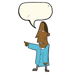 Cartoon ugly man pointing with speech bubble vector