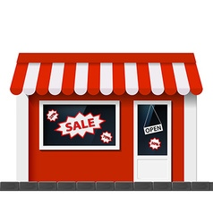 Facade with a showcase store vector