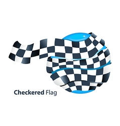Checkered flag around blue globe vector