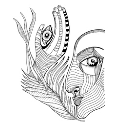 Abstract surreal face and hand with mehndi tattoo vector image