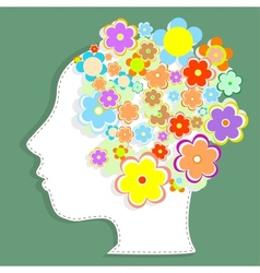 Silhouette womans head filled with cute flowers vector