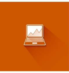 Abstract flat long shadow laptop with graph vector image
