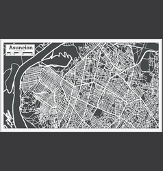Asuncion paraguay city map in retro style outline vector