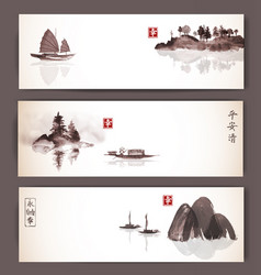 banners with fishing boats and islands in vintage vector image vector image