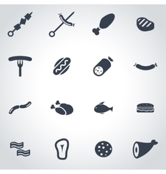 Black meat icon set vector
