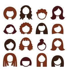 Brunette hair styles wigs icons set - women vector
