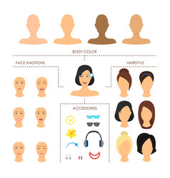cartoon woman face constructor element set vector image