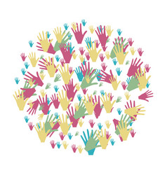 Colorful circle formed by pattern of hands vector