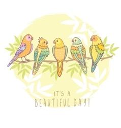 cute cartoon parrot vector image