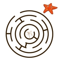 Game labyrinth find a way starfish vector image vector image