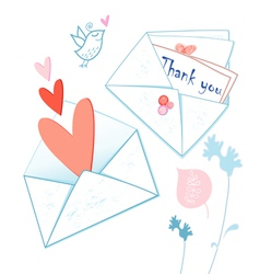 graphical envelopes with hearts vector image vector image