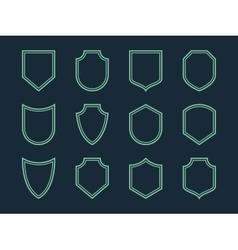 Line shield icon set vector image vector image