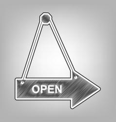 Open sign pencil sketch vector