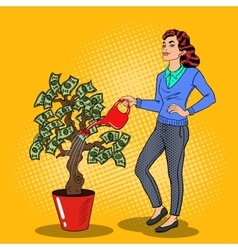 Pop art smiling rich woman watering money tree vector