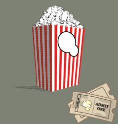popcorn and tickets vector image vector image