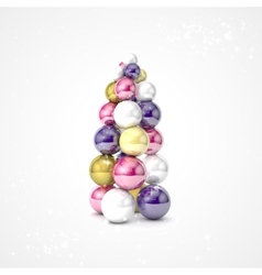 Realistic christmas tree made from balls vector image