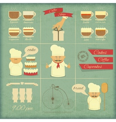 Retro Cover Menu for Bakery vector image