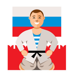 Russian man humor concept flat style vector