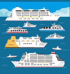 Sea cruise liner flat vacation passenger vector