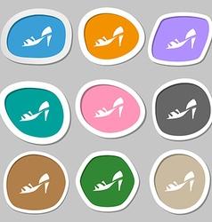 Shoe icon symbols multicolored paper stickers vector