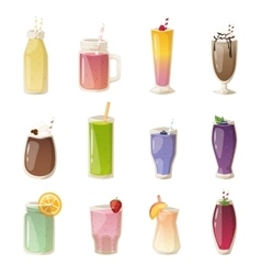 Smoothies drinks glasses set vector image