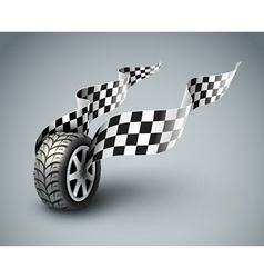 Sport racing wheel with vector image vector image