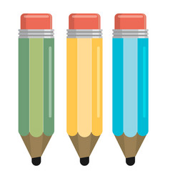 three color pencil in a flat style vector image vector image