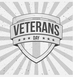 Vintage shield with veterans day text vector